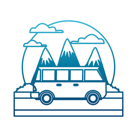 Vintage van, vehicle between mountains landscape icon vector illustration Ilustração