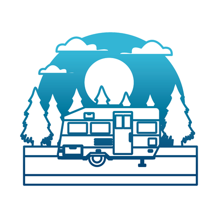 Trailer home isolated In the forest icon vector illustration Vetores