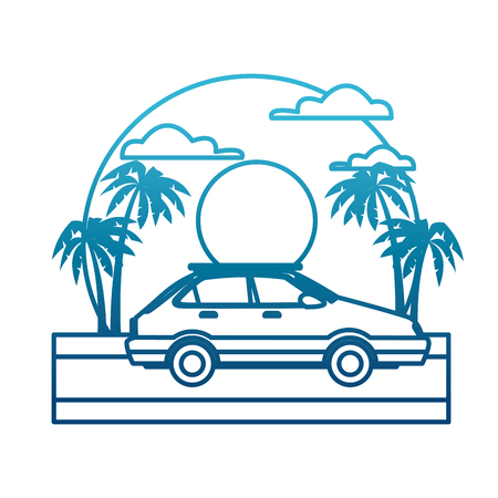 Car sideview vehicle on sunset landscape icon vector illustration