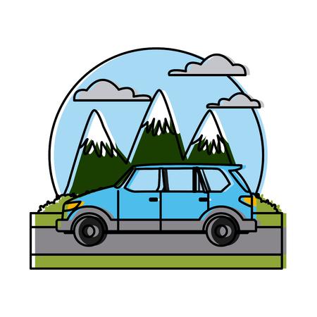 SUV sport vehicle between mountains landscape icon vector illustration Illustration