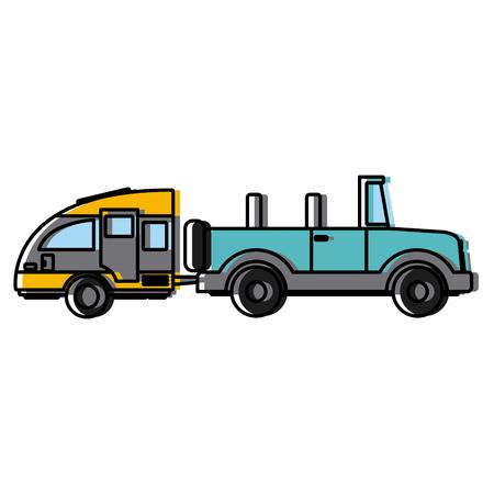 Off road sport truck with caravan trailer icon vector illustration