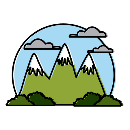 Big mountains isolated icon vector illustration graphic design Иллюстрация