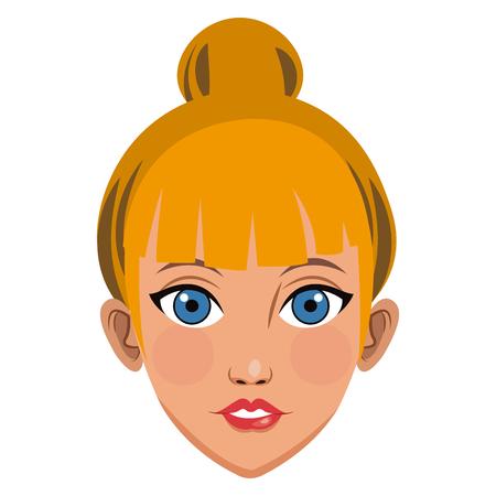 Beautiful woman face cartoon icon vector illustration graphic design Illustration