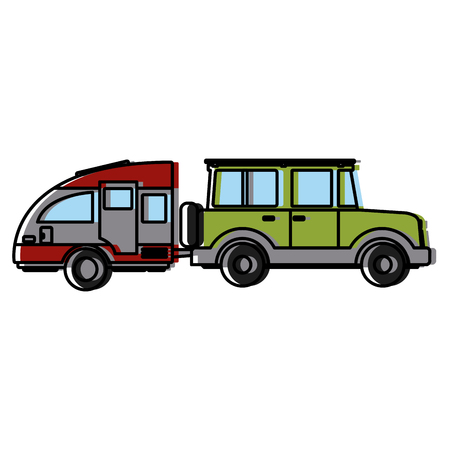 SUV sport vehicle with caravan trailer icon vector illustration