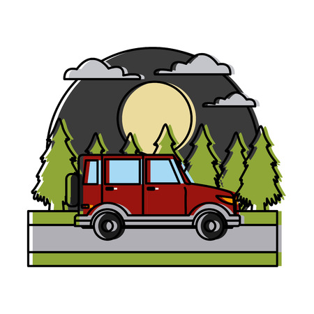 SUV sport vehicle In the forest icon colorful design illustration.