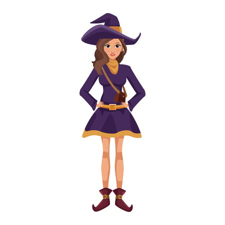 Beautiful woman with witch costume cartoon icon vector illustration graphic design Illustration