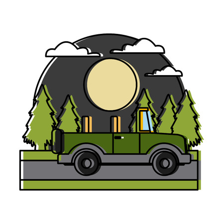 Off road sport truck In the forest icon vector illustration