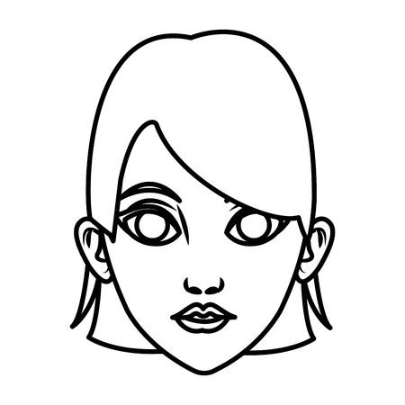 Beautiful woman face cartoon icon vector illustrationgraphic design
