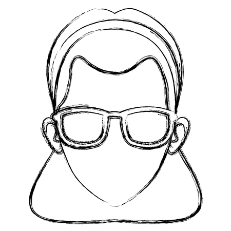 Woman face with sunglasses icon vector illustrationgraphic design Illustration