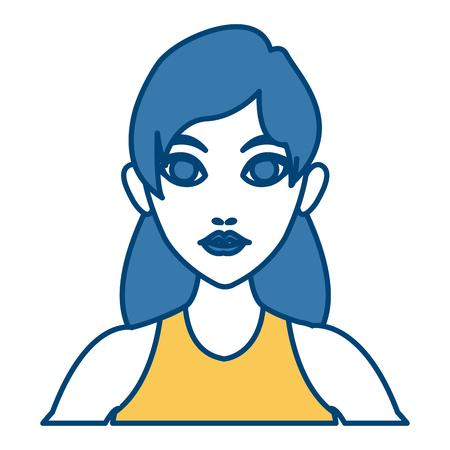 Beautiful woman profile icon.