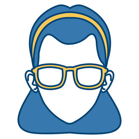Woman face wearing eyeglasses icon.