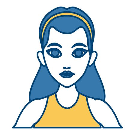 Beautiful woman profile cartoon icon vector illustrationgraphic design