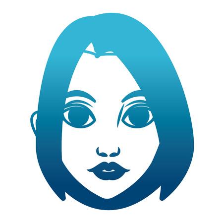 Beautiful woman face icon. Illustration