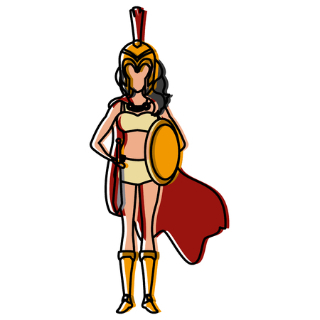 Beautiful woman medieval warrior icon vector illustration graphic design