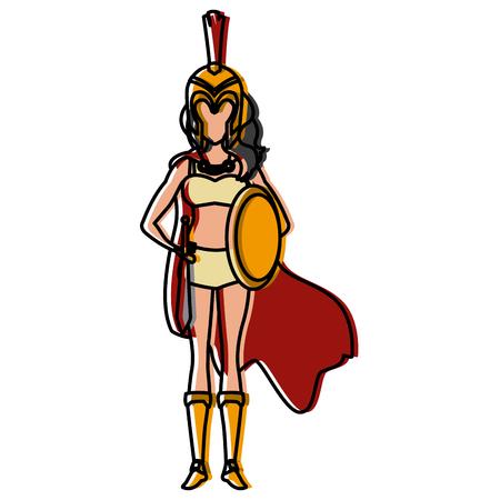 Beautiful woman medieval warrior icon vector illustration graphic design