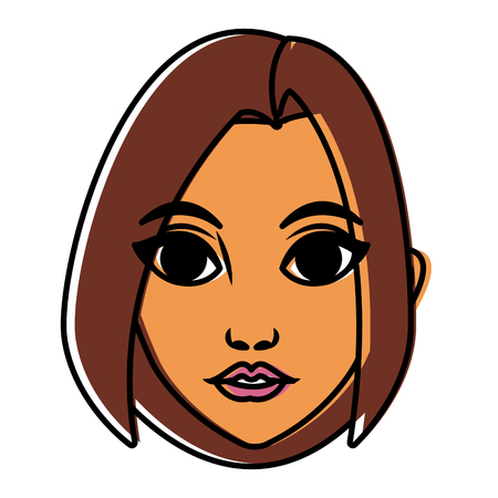 Beautiful woman face cartoon icon vector illustration graphic design  イラスト・ベクター素材
