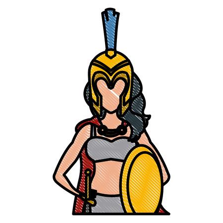 Beautiful woman medieval warrior icon illustration graphic design. Illustration
