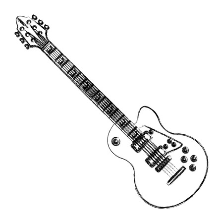 Electric guitar music instrument icon illustration graphic design.