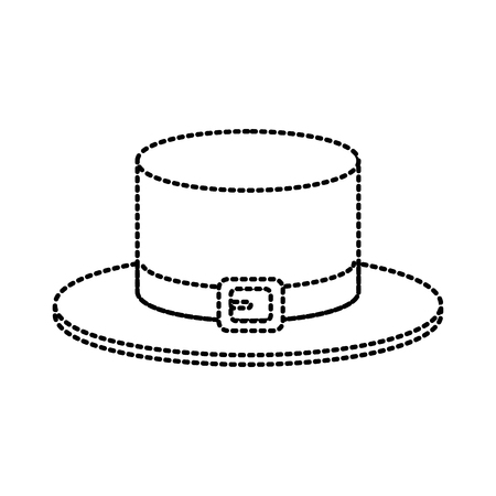 Vintage male hat icon in dotted lines illustration graphic design.
