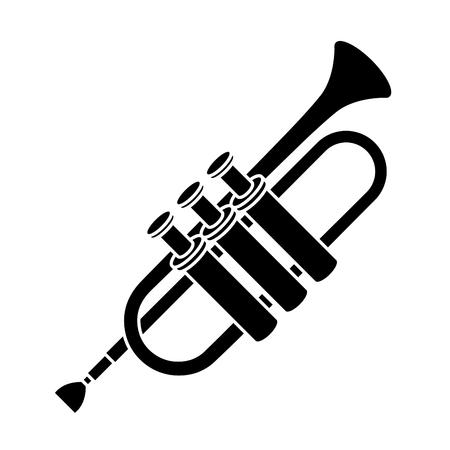 Van de het instrumentpictogram van de trompetmuziek het grafische ontwerp.