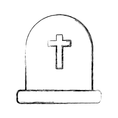 Cemetery tombstone isolated icon illustration graphic design. Illustration