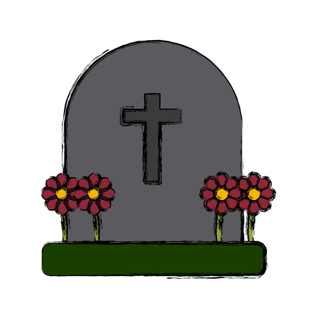 Cemetery tombstone isolated icon vector illustration graphic design.