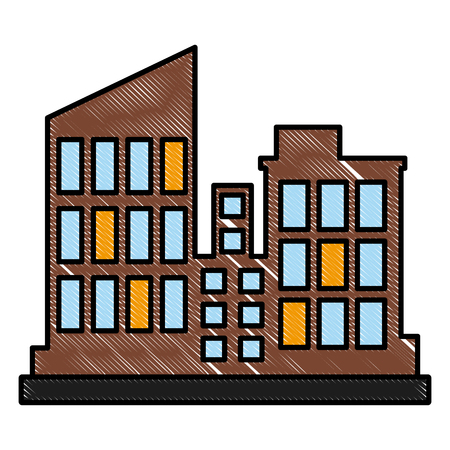 City buildings isolated icon vector illustration graphic design Vectores