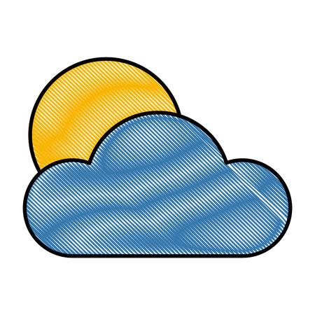 Cloud and sun icon vector illustration graphic design Illustration