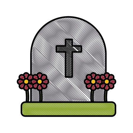 Cemetery tombstone isolated icon vector illustration graphic design Illustration