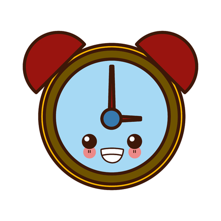 Alarm clock with bells cute kawaii cartoon vector illustration