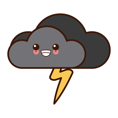 Cloud with rain symbol cute kawaii cartoon vector illustration