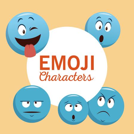 Emoji chat characters icon vector illustration graphic design 일러스트