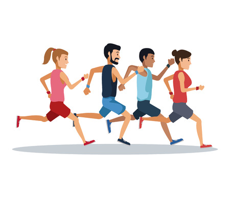 People running over white background icon vector illustration graphic design