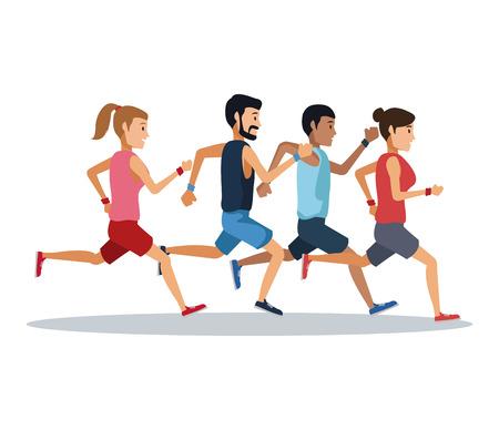 Osoby biegające na białym tle ikona wektor ilustracja projekt graficzny