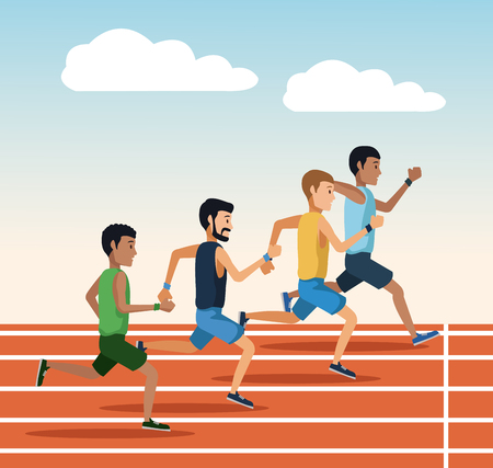 People running on track icon vector illustration graphic design Illustration