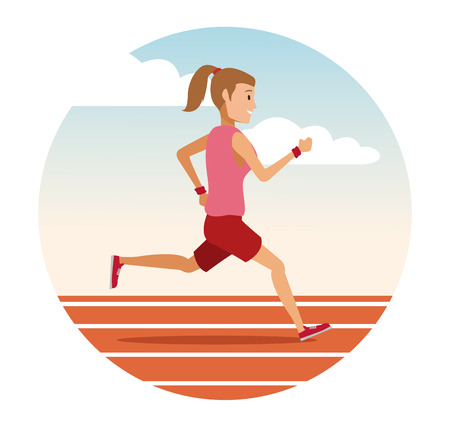 Woman running on track round icon icon vector illustration graphic design.