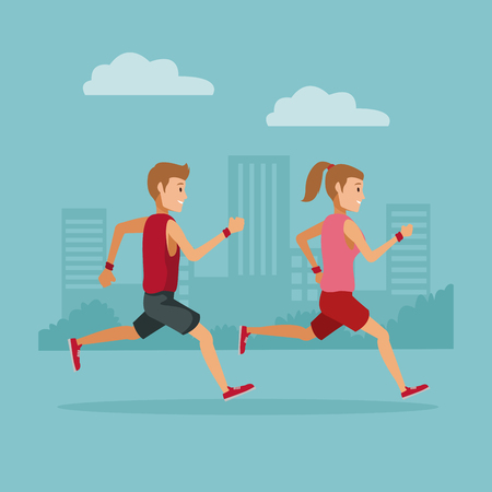 Couple running in the city icon vector illustration graphic design. Illustration