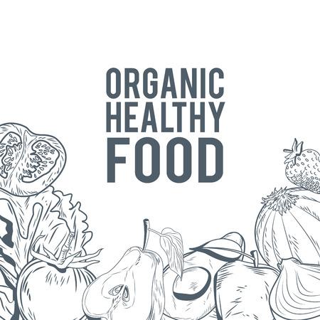 유기 건강 식품 손으로 그리는 아이콘 벡터 일러스트 그래픽 디자인