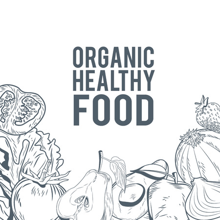 Organic healthy food hand draw icon vector illustration graphic design Çizim