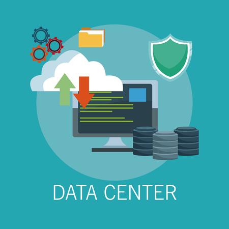 Data center technology icons vector illustration graphic design.