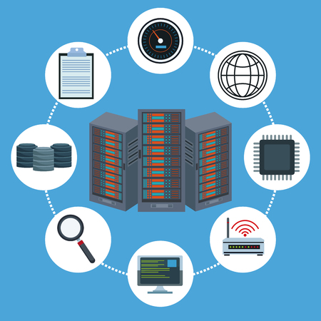 Data center technology icons vector illustration graphic design.