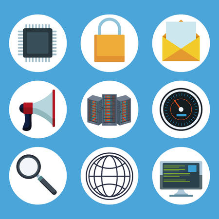 Data center technology round icons vector illustration graphic design