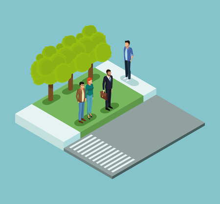 Isometric people in park on blue background vector illustration graphic Illustration