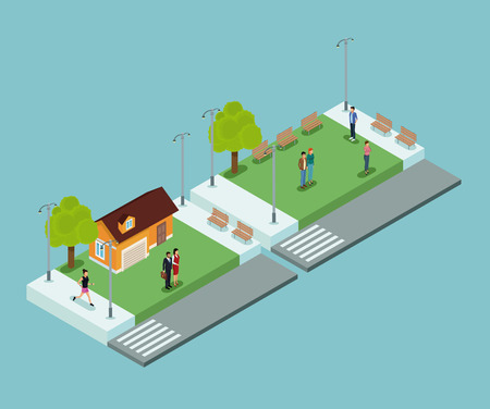 Isometric people in park on blue background vector illustration graphic  イラスト・ベクター素材