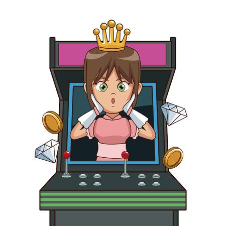 Princess videogame character cartoon icon vector illustration graphic design
