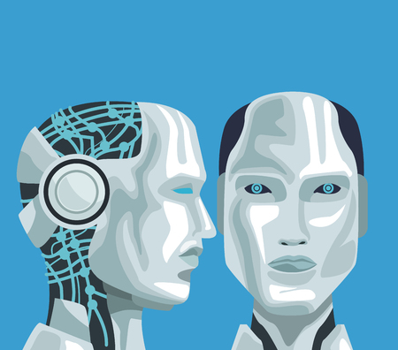 Robot artificial intelligence icon vector illustration graphic design  イラスト・ベクター素材