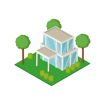 Isometric house 3d icon vector illustration graphic design