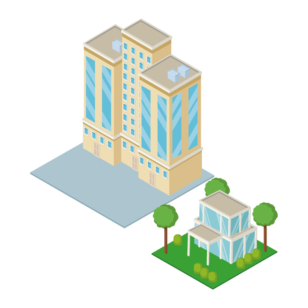 Isometric city 3d icon vector illustration graphic design