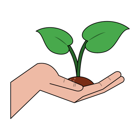 Hand with plant icon vector illustration graphic design.