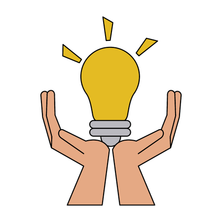 Hands holding bulb icon vector illustration graphic design